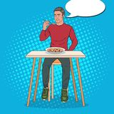 Estallido Art Man Eating Soup con la cara repugnante Comida insípida libre illustration