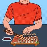 Estallido Art Man Eating Sushi en el restaurante asiático Comida japonesa ilustración del vector