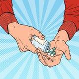 Estallido Art Man Holding Bottle con las drogas médicas Manos masculinas con las píldoras Suplemento farmacéutico stock de ilustración