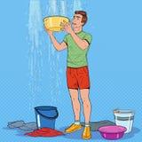 Estallido Art Man Holding Bucket y agua de la recogida ilustración del vector
