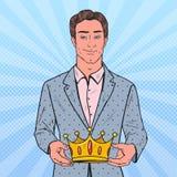 Estallido Art Man Holding Golden Crown Primer ganador del lugar, ceremonia de la coronación ilustración del vector