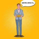 Estallido Art Man Holding Golden Crown Primer ganador del lugar, ceremonia de la coronación libre illustration