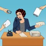 Estallido Art Multitasking Busy Business Woman en el trabajo de oficina ilustración del vector