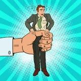 Estallido Art Office Worker de los apretones de la mano grande del patrón stock de ilustración