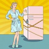 Estallido Art Pretty Woman en dieta con la cadena y la cerradura del refrigerador Foto de archivo