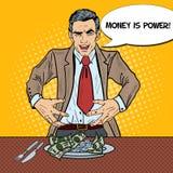 Estallido Art Rich Greedy Businessman Eating Money en la placa stock de ilustración