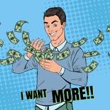 Estallido Art Rich Man Throwing Dollar Banknotes Hombre de negocios acertado con el dinero Imagenes de archivo