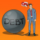 Estallido Art Sad Businessman Chained a una bola de piedra de la deuda ilustración del vector