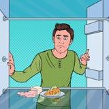 Estallido Art Sad Hungry Man Looking en refrigerador vacío ilustración del vector