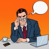 Estallido Art Serious Businessman con las lentes en el trabajo de oficina stock de ilustración