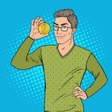 Estallido Art Smart Man Holding Golden Bitcoin Moneda Crypto virtual libre illustration