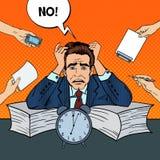Estallido Art Stressed Businessman en el trabajo de oficina stock de ilustración