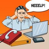 Estallido Art Stressed Businessman en el trabajo de oficina con el teléfono y el ordenador portátil libre illustration
