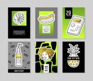 Estallido Art Style Fashionable Posters Set Banderas de moda de la moda con las insignias y remiendos para los carteles, diseño d ilustración del vector