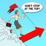 Estallido Art Successful Business Woman con la bandera que corre al top Fotografía de archivo libre de regalías
