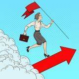 Estallido Art Successful Business Woman con la bandera que corre al top Fotos de archivo libres de regalías