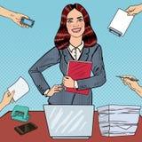 Estallido Art Successful Business Woman en el trabajo de oficina polivalente con el ordenador portátil Foto de archivo libre de regalías