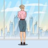 Estallido Art Successful Business Woman Looking en la ciudad a través de la ventana stock de ilustración