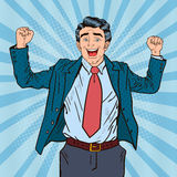 Estallido Art Successful Businessman Celebrating Imagen de archivo