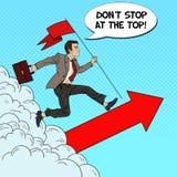 Estallido Art Successful Businessman con la bandera que corre al top Dirección de la motivación del negocio Fotografía de archivo libre de regalías