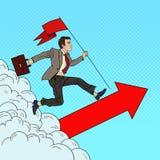 Estallido Art Successful Businessman con la bandera que corre al top Dirección de la motivación del negocio Imagenes de archivo