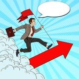 Estallido Art Successful Businessman con la bandera que corre al top Dirección de la motivación del negocio Fotos de archivo