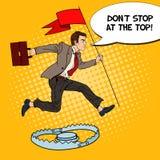 Estallido Art Successful Businessman con la bandera que salta sobre la trampa Fotos de archivo