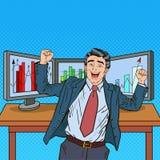 Estallido Art Successful Businessman con los ordenadores Fotos de archivo libres de regalías