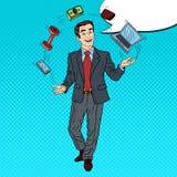 Estallido Art Successful Businessman Juggling Computer, teléfono y dinero Imágenes de archivo libres de regalías