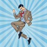 Estallido Art Successful Businessman Jumping Imagen de archivo