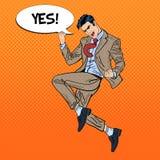 Estallido Art Successful Businessman Jumping Imagenes de archivo