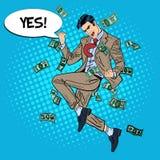 Estallido Art Successful Businessman Jumping con la burbuja cómica del discurso sí en caer abajo dinero Imagenes de archivo