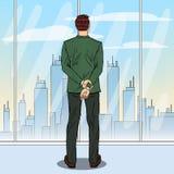 Estallido Art Successful Businessman Looking en la ciudad a través de la ventana ilustración del vector