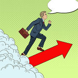Estallido Art Successful Businessman Walking al top a través de las nubes Fotos de archivo