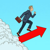 Estallido Art Successful Businessman Walking al top a través de las nubes Fotografía de archivo