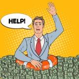 Estallido Art Successful Man Sinking en dinero Hombre de negocios con salvavidas que pide ayuda Imagenes de archivo