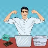 Estallido Art Successful Multi Tasking Businessman con el ordenador portátil en el trabajo de oficina Fotografía de archivo libre de regalías