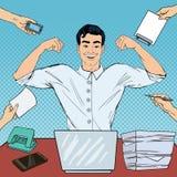 Estallido Art Successful Multi Tasking Businessman con el ordenador portátil en el trabajo de oficina Imágenes de archivo libres de regalías