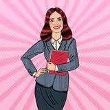 Estallido Art Successful Smiling Business Woman que sostiene la carpeta stock de ilustración