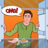 Estallido Art Unhappy Hungry Man Looking en refrigerador vacío ilustración del vector