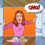 Estallido Art Unhappy Hungry Woman Looking en refrigerador vacío con la burbuja cómica del discurso ilustración del vector