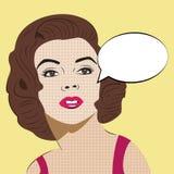 Estallido Art Woman con la burbuja cómica del discurso Imagen de archivo libre de regalías
