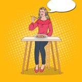 Estallido Art Woman Eating Soup con la cara repugnante Comida insípida stock de ilustración