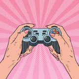 Estallido Art Woman Holding Gamepad Manos femeninas con la consola de la palanca de mando Videojuego stock de ilustración