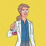 Estallido Art Woman Scientist con el frasco Investigador de sexo femenino del laboratorio Concepto de la farmacología de la quími libre illustration