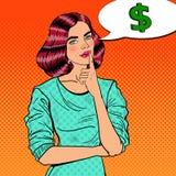 Estallido Art Young Beautiful Woman Thinking sobre el dinero Fotos de archivo