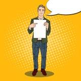 Estallido Art Young Businessman Pointing en la hoja del papel en blanco Presentación del asunto libre illustration