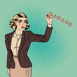 Estallido hermoso Art Woman Writing Word Career de los jóvenes sobre el vidrio ilustración del vector