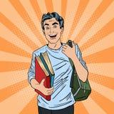 Estallido masculino Art Student con la mochila y los libros ilustración del vector