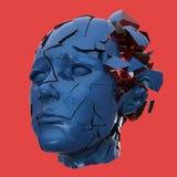 Estallido principal de la mujer brillante shuttered - dolor de cabeza, problemas mentales, tensión stock de ilustración